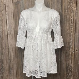 Time And Tru White Crochet Lace Coverup Sz Large
